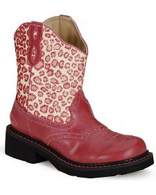 Roper Girls' Leopard Print Pink Cowboy Boots - Round Toe