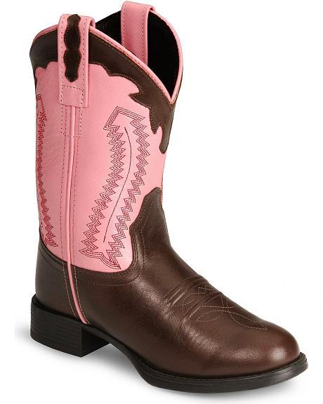 Old West Youth Ultra Flex Brown & Pink Cowboy Boots