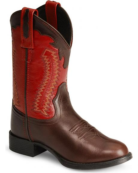 Old West Children's Ultra Flex Red & Brown Cowboy Boots