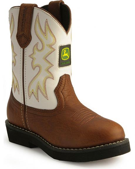 John Deere Children's White Wellington Cowboy Boots