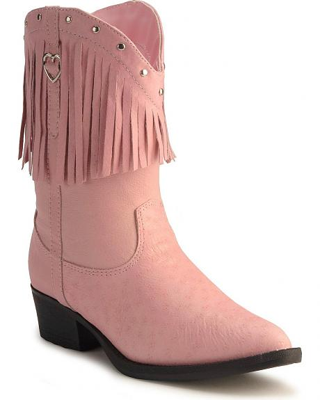 Dingo Children's Pink Fringed Leather Cowgirl Boots
