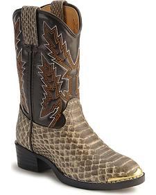 Durango Boys' Snake Print Boots - Round Toe