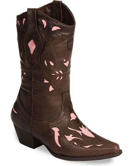 Roper Children's Pink Vintage Inlay Cowgirl Boots