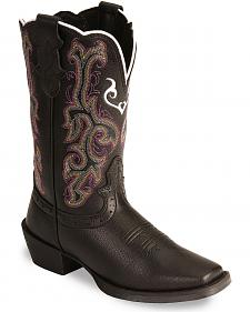 Justin Youth Girls' Junior Stampede Cowboy Boots - Square Toe