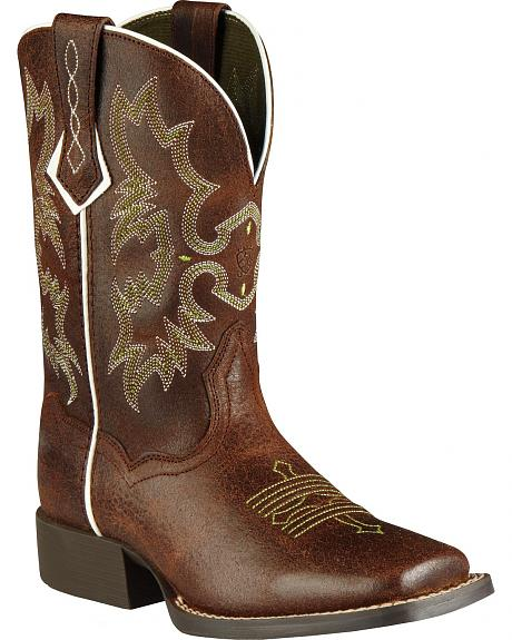 Ariat Youth Tombstone Roughed Chocolate Cowboy Boots