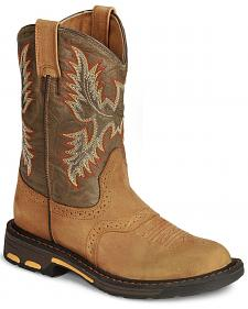 Ariat Boys' Aged Bark Workhog Cowboy Boots - Round Toe