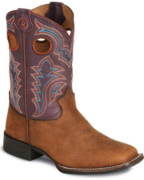 Tony Lama Youth Tiny Lama 3R Rust Cowboy Boots - Square