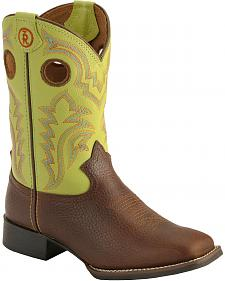 Tony Lama Youth Tiny Lama 3R Beige Cowboy Boots - Square