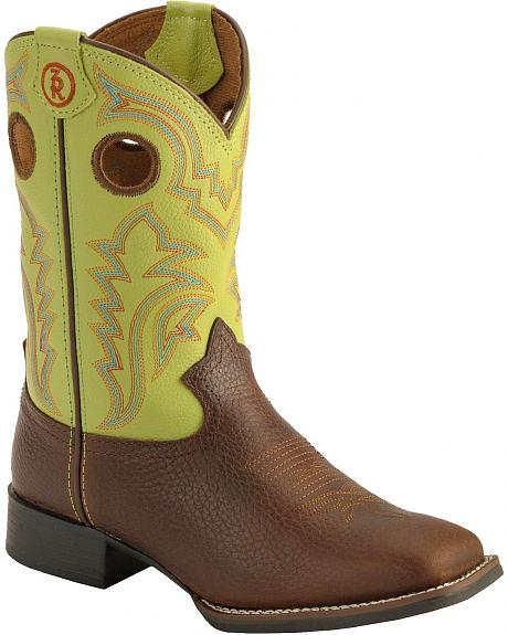 Tony Lama Youth Boys' Tiny Lama 3R Beige Cowboy Boots - Square Toe