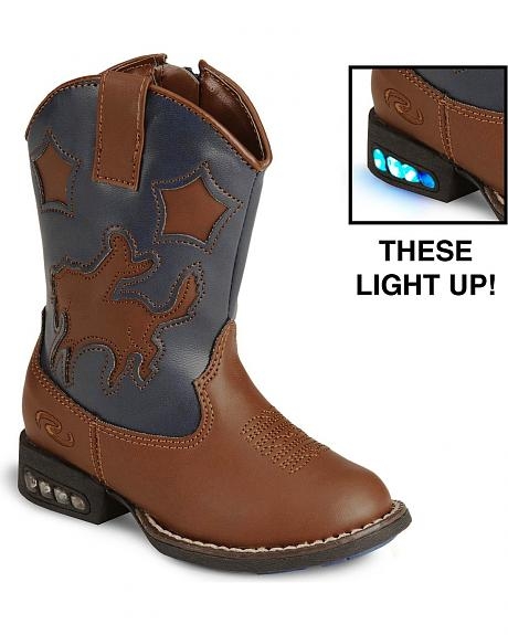Roper Toddler Boys' Light Up Bronco Cowboy Boot