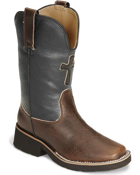 Roper Children's Cross Faux Leather Cowboy Boots