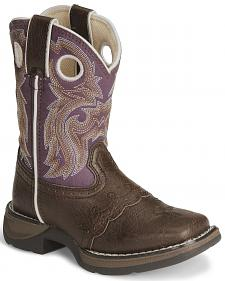 Durango Girls' Brown Lil Flirt Cowgirl Boot - Square Toe