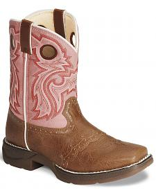 Durango Girls' Tan Lil' Flirt Cowgirl Boots - Square Toe
