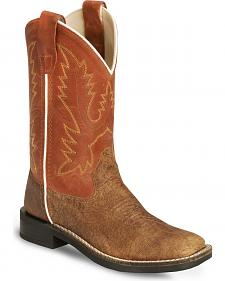 Old West Youth Vintage Tan Cowboy Boot - Square Toe