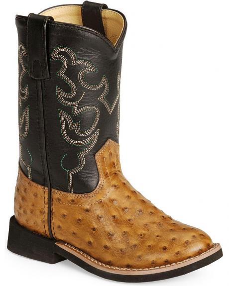 Smoky Mountain Youth Shawnee Ostrich Print Cowboy Boots