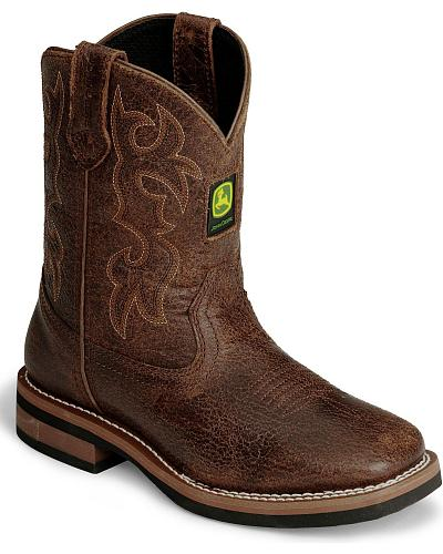 John Deere Childrens Distressed Cowboy Boot - Square Toe