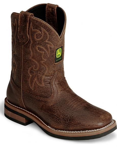 John Deere Youth Distressed Cowboy Boot - Square Toe