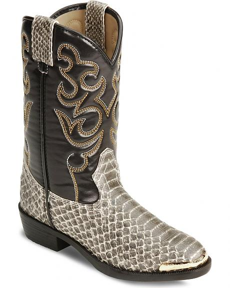 Smoky Mountain Children's Snake Print Cowboy Boots - Round Toe