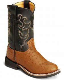 Smoky Mountain Toddlers Ostrich Print Cowboy Boots - Round Toe