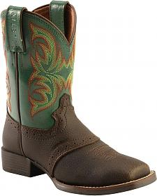 Justin Boys' Green Stampede Cowboy Boots - Square Toe
