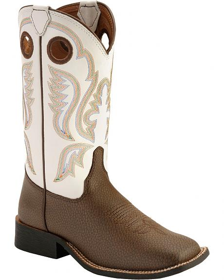 Justin Youth Bent Rail Cowboy Boots - Square Toe