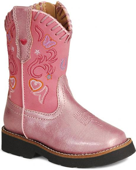 Roper Infant Girls' Pink Glitter Fancy Stitched Cowgirl Boots