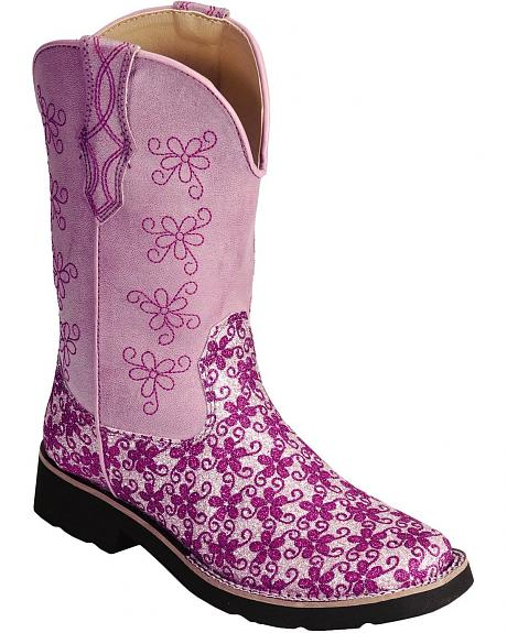 Roper Girls' Floral Glitter Cowgirl Boots - Square Toe