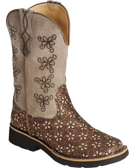 Roper Girls' Glitter & Floral Embroidery Cowgirl Boots