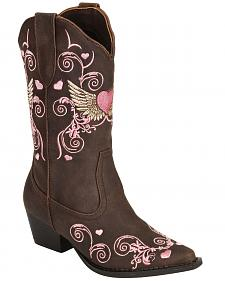 Roper Girls' Heart & Wing Embroidered Cowgirl Boots - Snip Toe