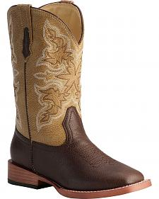 Roper Boys' Tan Cowboy Boots - Square Toe