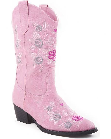 Roper Girls' Floral Stitched Snip Toe Cowgirl Boots