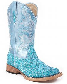Roper Girls' Blue Floral Glitter Cowgirl Boots