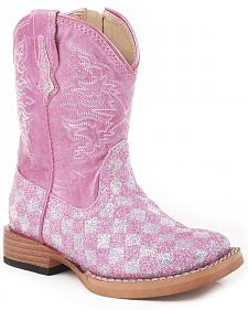 Roper Infant Girls' Pink Checker Glitter Cowgirl Boots