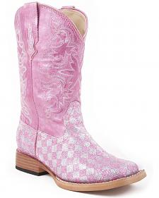Roper Girls' Pink Glitter Checker Cowgirl Boots