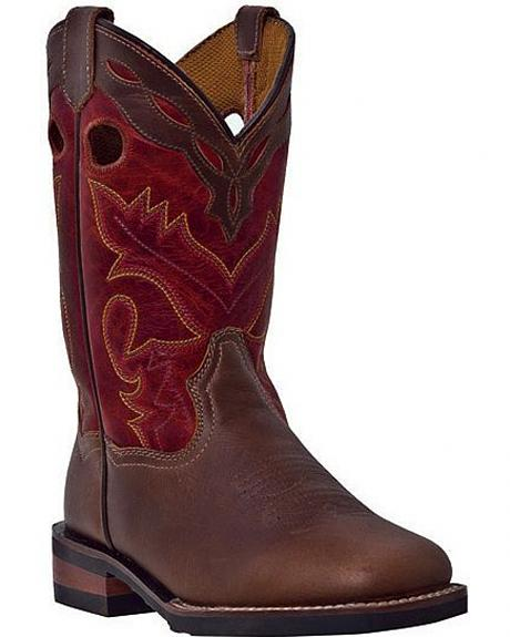 Dan Post Youth Collar Overlay Cowboy Boots - Square Toe