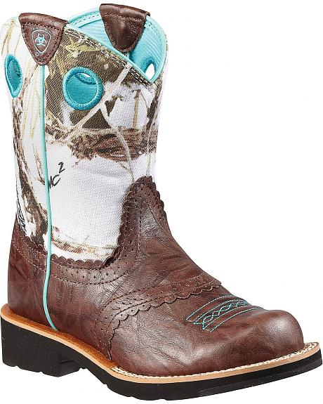 Ariat Youth Girls' Fatbaby Snowy Camo Boots