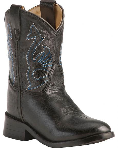 Red Ranch Toddler Black Leather Cowboy Boots