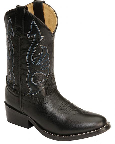 Red Ranch Youth Black Leather Cowboy Boots