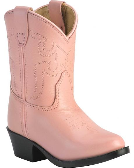 Red Ranch Toddler Girls' Pink Leather Cowgirl Boots