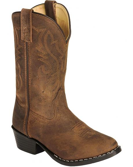 Red Ranch Youth Brown Oiled Leather Cowboy Boots
