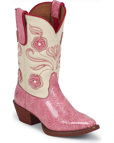 Tony Lama Youth Tiny Lama Vaquero Carnation Texas Cowboy Boots - Round Toe