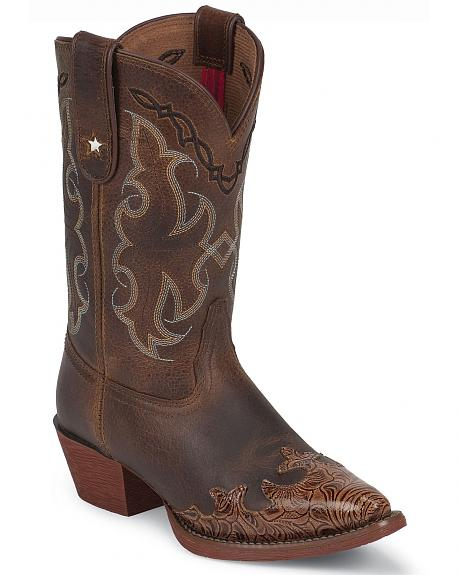 Tony Lama Youth Girls' Tiny Lama Vaquero Savannah Cowboy Boots - Pointed Toe