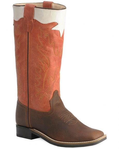 Old West Children's Stove Pipe Cowboy Boots - Square Toe