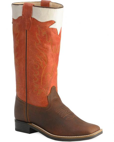 Old West Youth Boys' Stove Pipe Flexible Sole Cowboy Boots - Square Toe