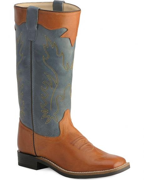Old West Youth Stove Pipe Cowboy Boots - Square Toe