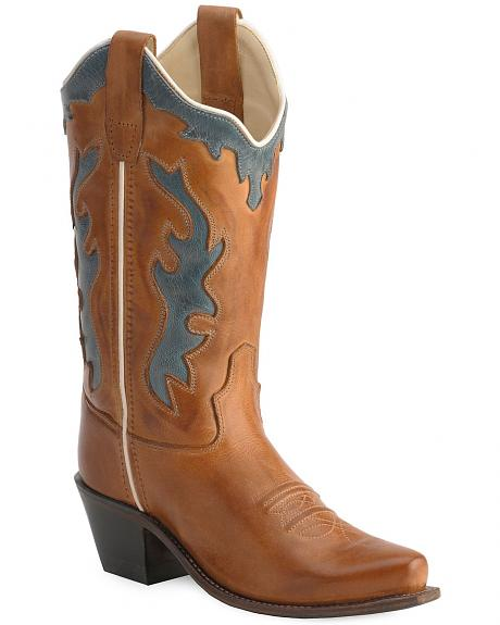 Old West Children's Leather Inlay Cowboy Boots - Snip Toe