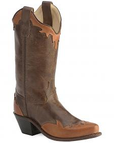 Old West Children's Wingtip  & Collar Cowboy Boots - Snip Toe