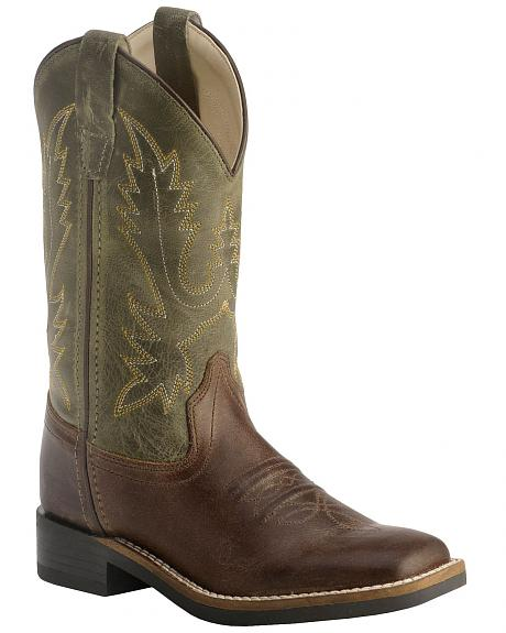 Old West Children's Stiched Olive Cowboy Boots - Square Toe