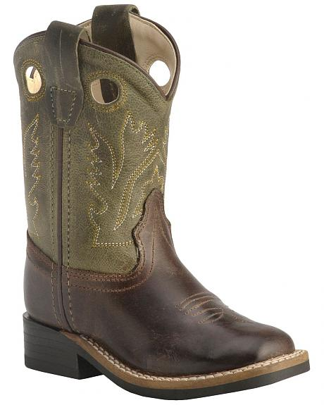 Old West Toddler Boys' Stitched Olive Cowboy Boots - Square Toe