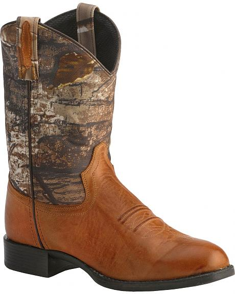 Old West Youth Real Tree Green Camo Cowboy Boots